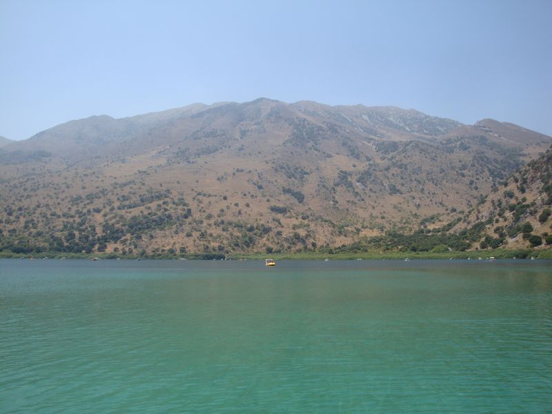 010. In all of its beauty - The water in Lake Kournas has many varieties of color in the form of astonishing turquoise, lavender and blue stripes.
