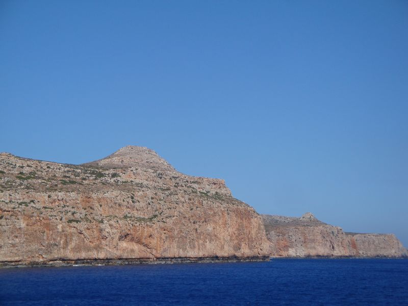 023. Uplift - After earthquake which occurred several thousand years ago, the mountains uplifted by 6-9 meters. The lower boundary (dark line) is the former water level. Gramvousa-Balos cruise. The North-Western tip of Crete