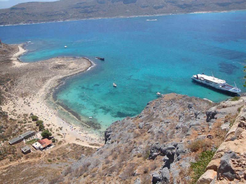 029. Exciting view from above - Our ship is in turquoise waters. Gramvousa-Balos cruise. The North-Western tip of Crete
