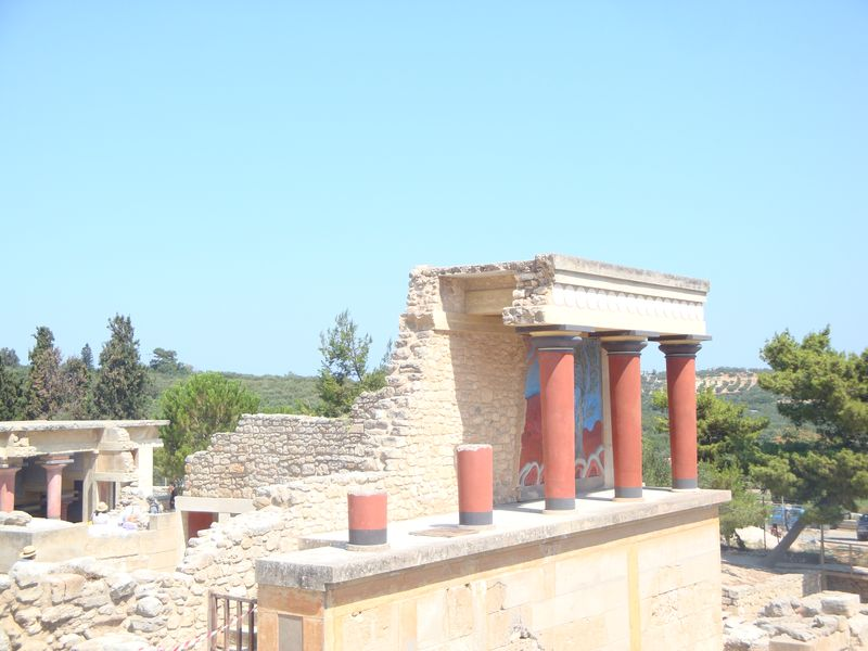 051. The West Bastion - You can see a magnificent portico with painted bar relief of bull-catching scene at Knossos (Κνωσσός)
