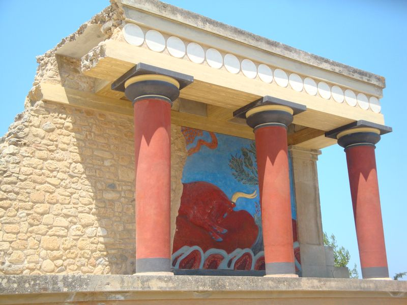 066. Charging bull fresco - The West Bastion. You can see a magnificent portico with painted bar relief of bull-catching scene at Knossos (Κνωσσός)