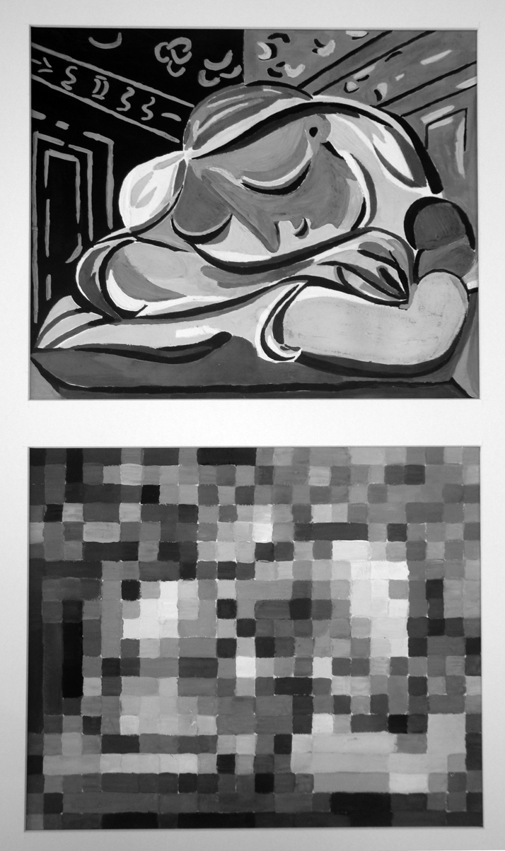 17. Picasso, pixelization - The lower painting consists of the small squares