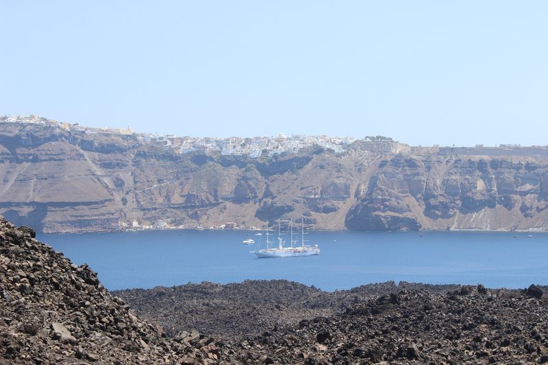View from volcano. Nea Kameni island (Νέα Καμένη), Santorini