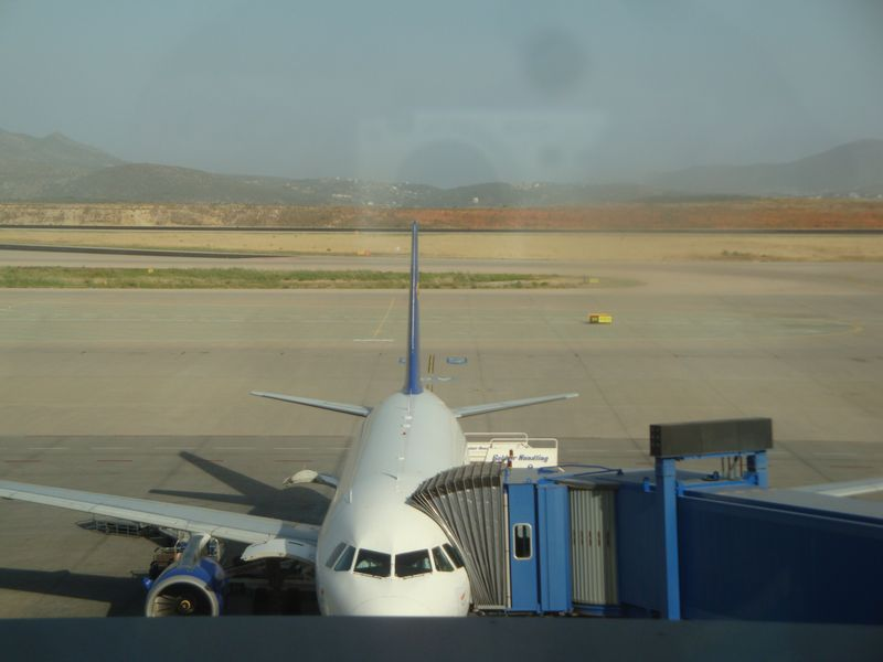 001. Colored stripes of landscape at Athens airport -