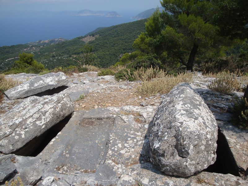Sendoukia tombs (Σεντούκια). There are three stone sarcophagi carved into the rock, approximate age is 4000 years