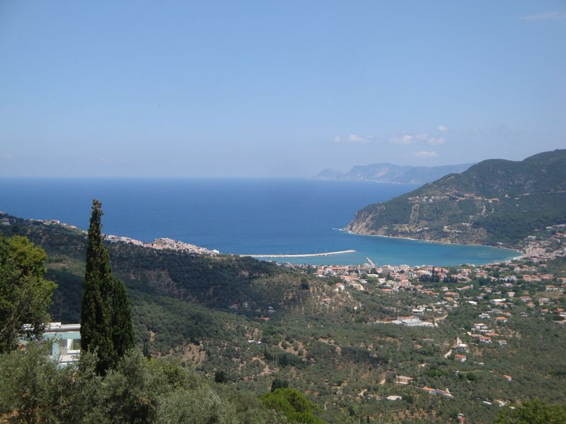 077. View of Skopelos harbor from the height -