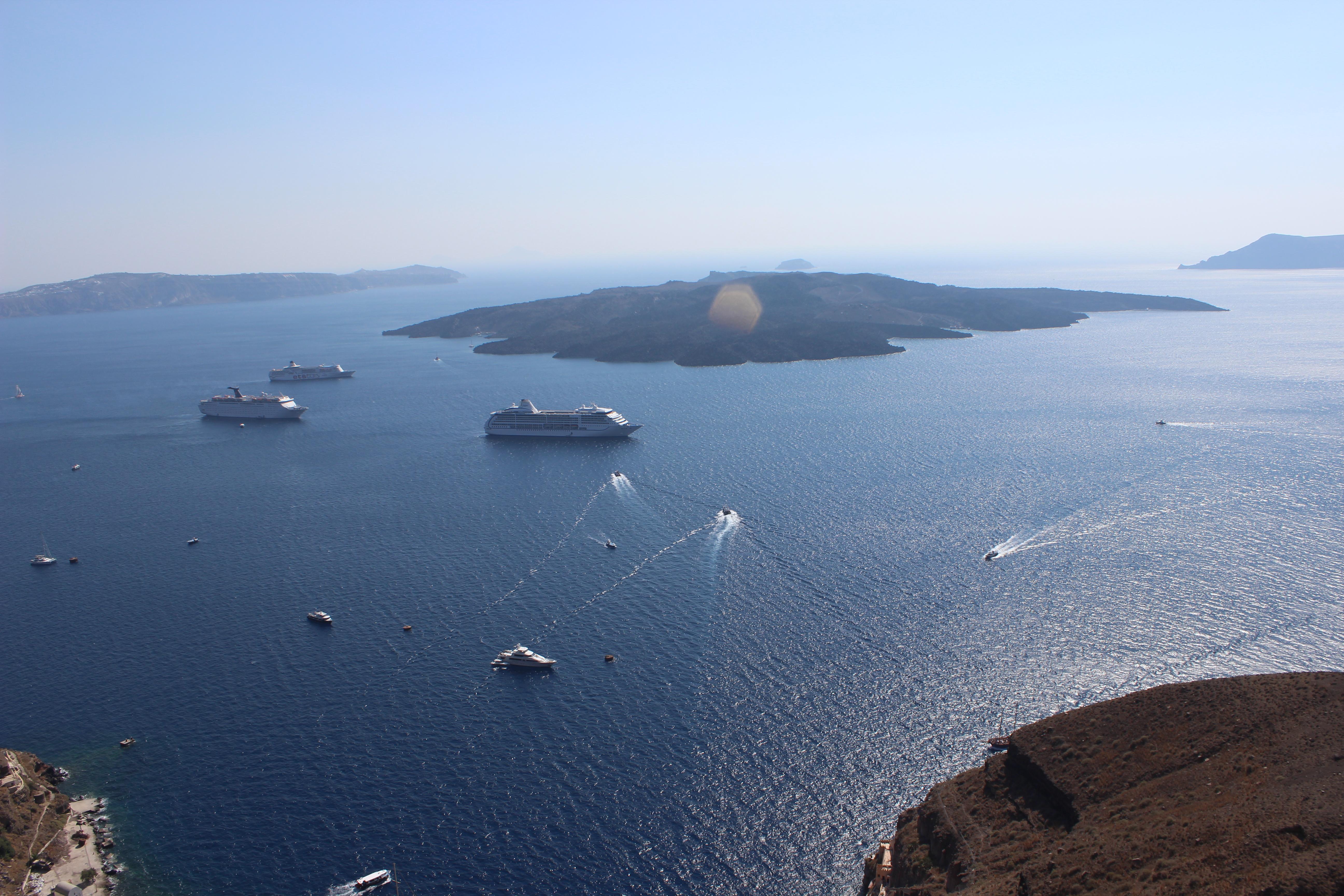 50. Touristic gathering round the volcano - (Nea Kameni island). Firá (Φηρά), Santorini