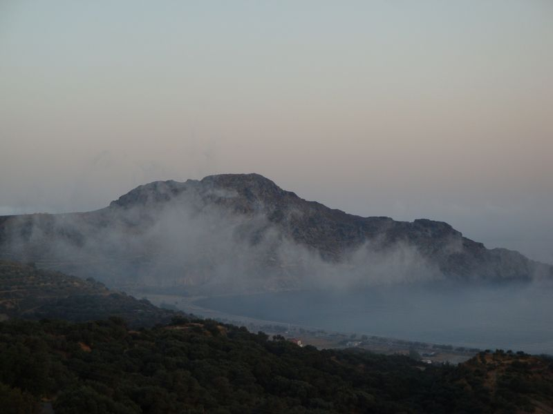 021. Mist over the Plakias bay - View from tavern Panorama (Πανόραμα), Mirfious (Μύρθιος) village, South Crete.