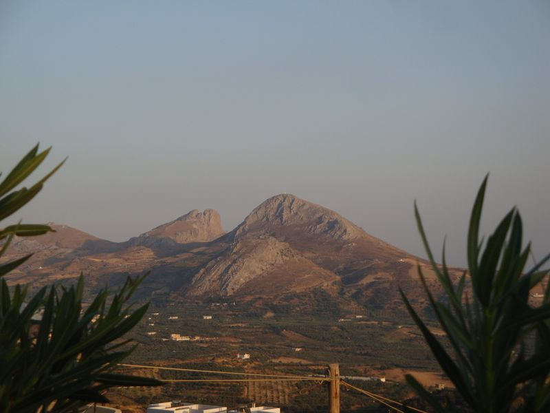 058. View of the Timios Stavros from Mariou tavern - Timios Stavros is a small white spot on the top of the mountain. South Crete